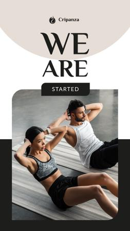 Man and Woman doing gymnastic exercises Instagram Story Modelo de Design
