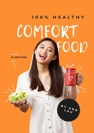 Ontwerpsjabloon van Poster van Nutritionist Consultation offer with Smiling Girl