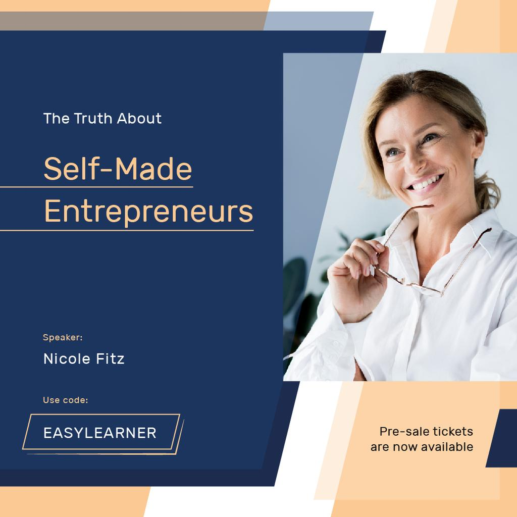 Business Event Announcement Smiling Businesswoman | Instagram Post Template — Crear un diseño