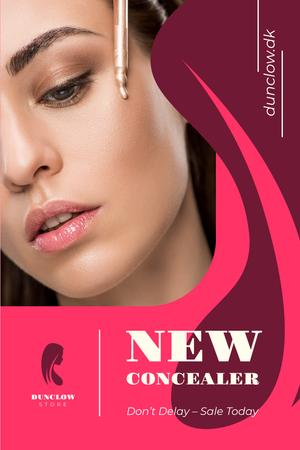 Cosmetics Promotion with Woman Applying Makeup Pinterest Design Template