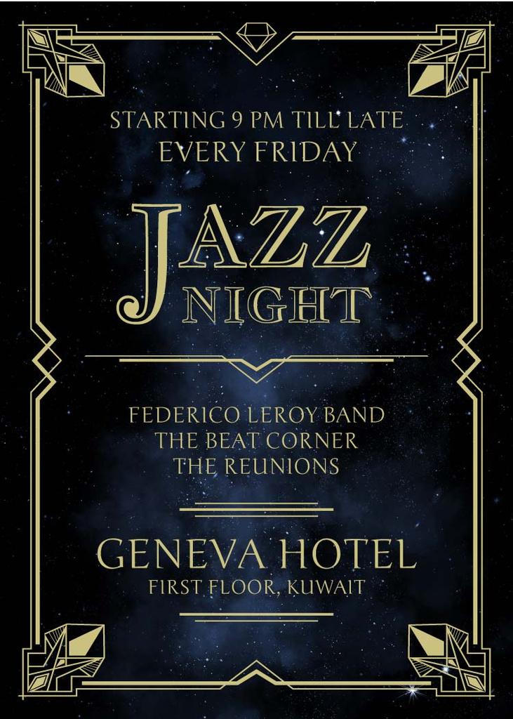 Jazz Night Invitation on Night Sky — ein Design erstellen
