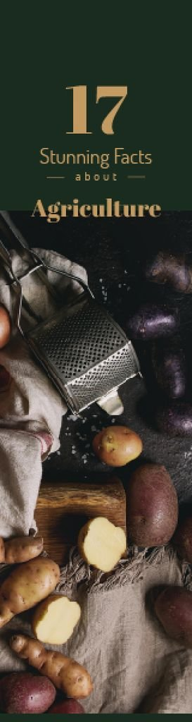Agriculture Facts Raw Potatoes on Table — Crear un diseño