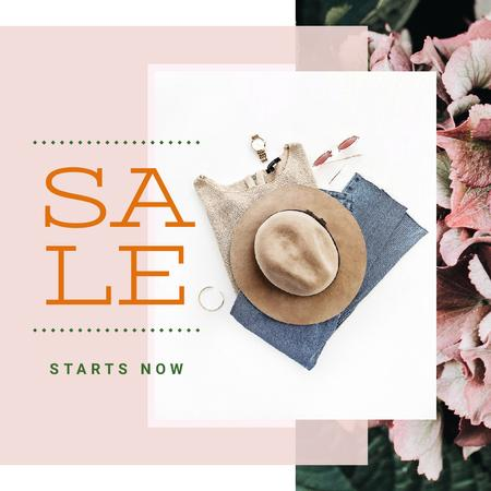Plantilla de diseño de Sale Offer with Stylish female outfit Instagram