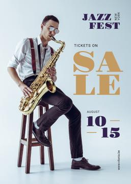 Jazz Festival Musician Playing Saxophone | Flyer Template
