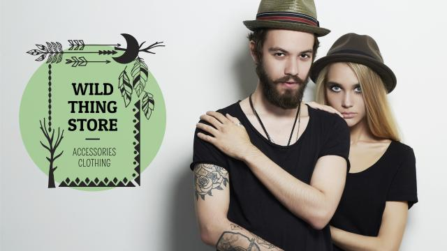 Ontwerpsjabloon van Youtube van Fashion Store Ad with Young Couple in Black Outfits