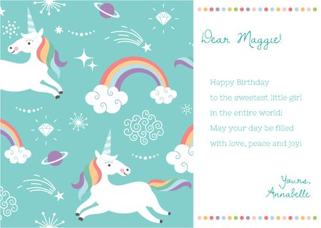 Happy Birthday Greeting with Magical Unicorns Card Modelo de Design