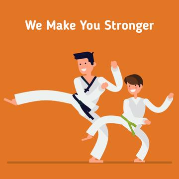 Boy training with martial arts coach