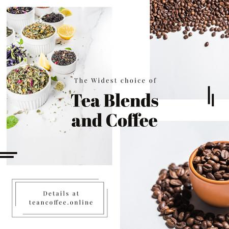 Ontwerpsjabloon van Instagram AD van Coffee beans and Tea collection