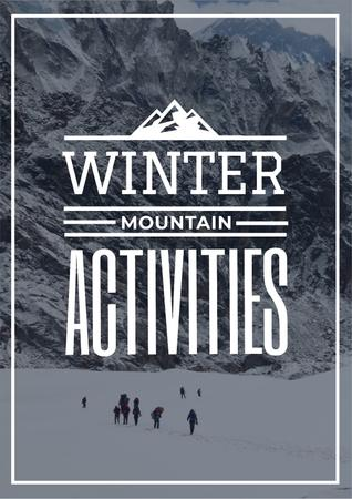 Plantilla de diseño de Winter Activities Inspiration with People in Snowy Mountains Poster