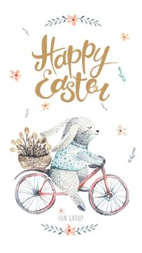 Bunny riding bicycle