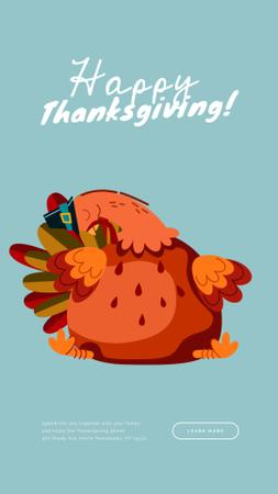 Funny Thanksgiving Turkey Instagram Video Story Modelo de Design