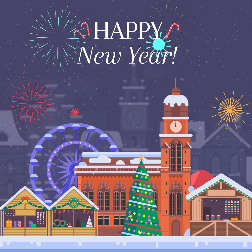 Fireworks over Christmas town — Maak een ontwerp
