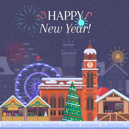 Plantilla de diseño de Fireworks over Christmas town Animated Post