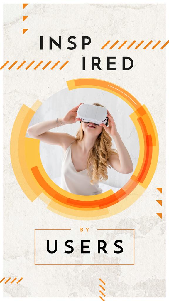 Woman using vr glasses Instagram Story Modelo de Design