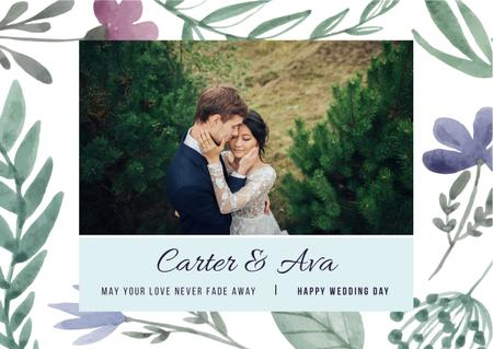 Wedding Greeting with Happy Embracing Newlyweds Card Design Template