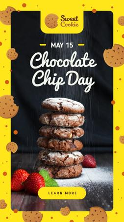Chocolate chip Day with Cookies Instagram Story Modelo de Design