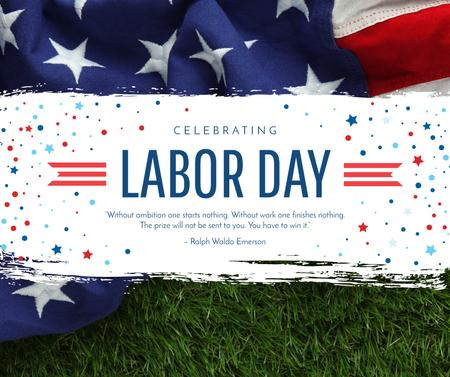 Modèle de visuel USA Labor Day celebration with flag - Facebook