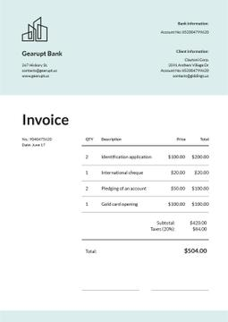 Bank Services Invoice