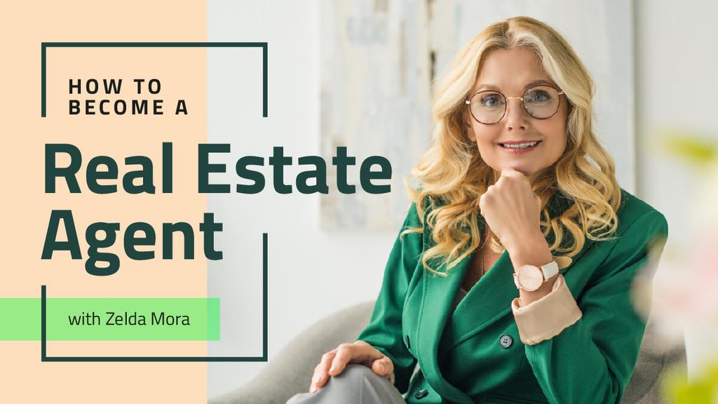 Real Estate Agent Smiling Confident Woman — Modelo de projeto