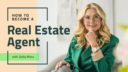 Real Estate Agent Smiling Confident Woman Youtube Thumbnail Design Template