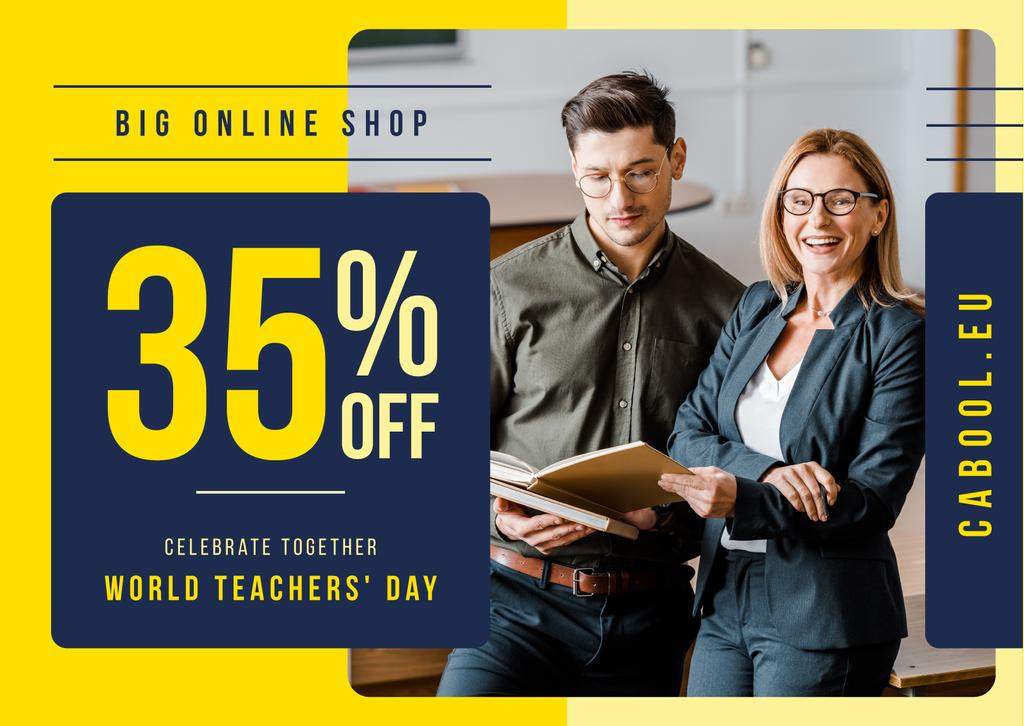 World Teachers' Day Sale Student and Teacher with Book Card Design Template