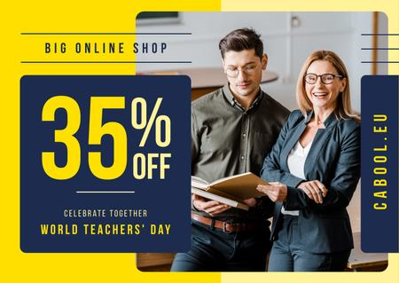 World Teachers' Day Sale Student and Teacher with Book Card Modelo de Design