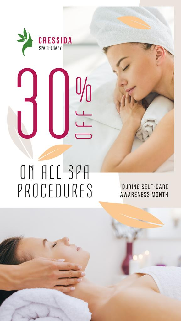 Self-Care Awareness Month Woman Relaxing at Spa | Stories Template — Crea un design
