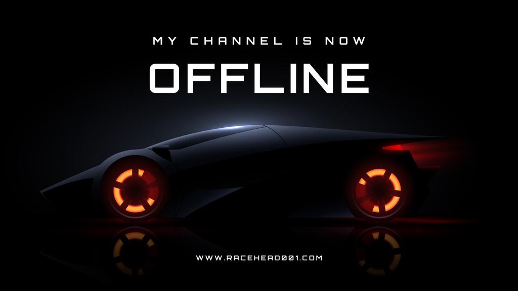 Futuristic Racing Car on Black Twitch Offline Banner Design Template
