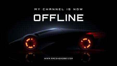 Futuristic Racing Car on Black Twitch Offline Banner Modelo de Design