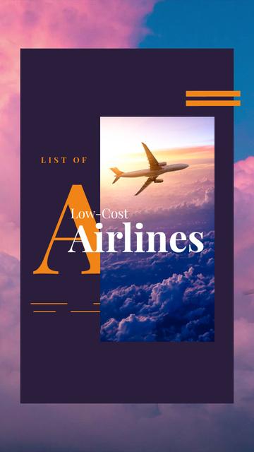 Airlines Ad Plane Flying Purple Sky Instagram Video Story Tasarım Şablonu