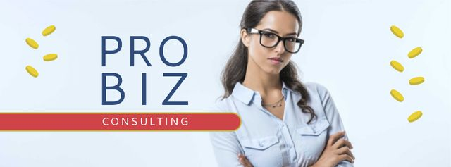 Plantilla de diseño de Business Coach Ad Confident Woman in Glasses Facebook cover
