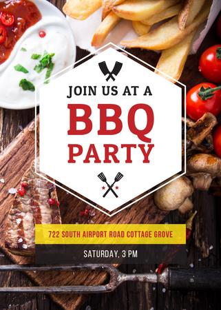 BBQ Party Invitation with Grilled Steak Flayer Modelo de Design