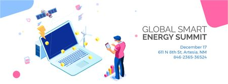 Man by laptop with renewable energy icons Facebook Video cover – шаблон для дизайна