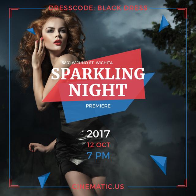 Plantilla de diseño de Night Party Invitation Woman in Black Dress Instagram AD