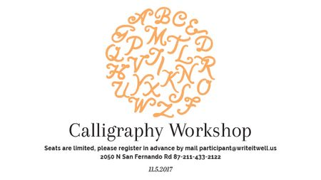 Plantilla de diseño de Calligraphy Workshop Announcement Letters on White Title