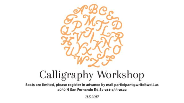 Modèle de visuel Calligraphy Workshop Announcement Letters on White - Title