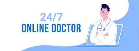 Online Medical Support Facebook cover Modelo de Design