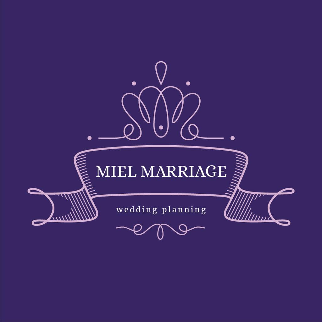 Wedding Agency Ad with Elegant Ribbon in Purple — Crea un design