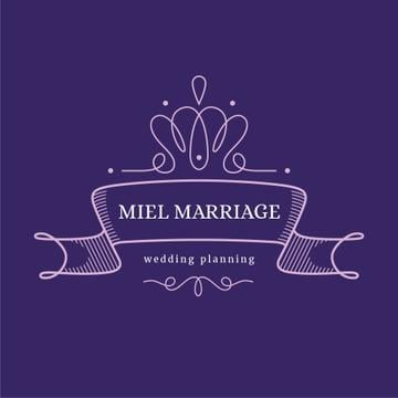 Wedding Agency Ad with Elegant Ribbon in Purple