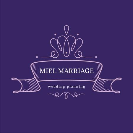 Wedding Agency Ad with Elegant Ribbon in Purple Logo Modelo de Design