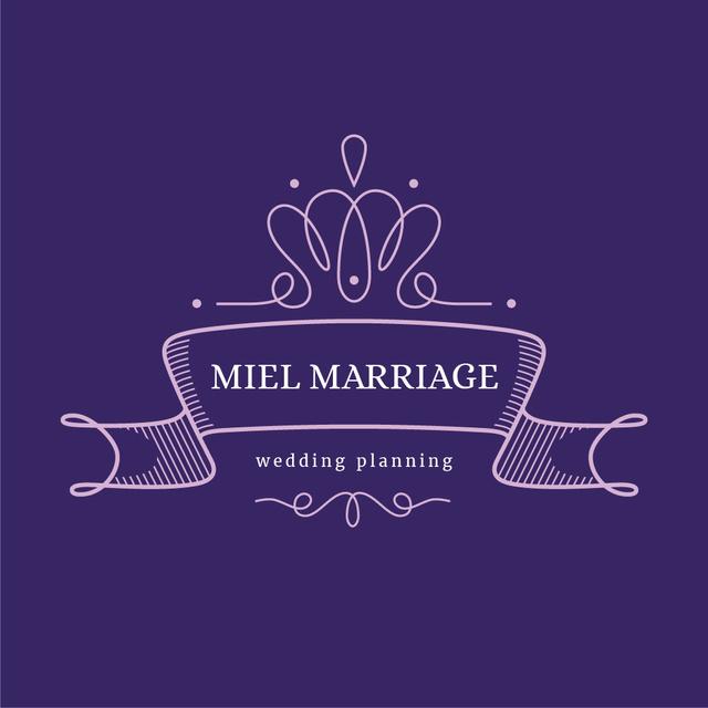 Wedding Agency Ad with Elegant Ribbon in Purple Logoデザインテンプレート