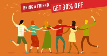 Discount Offer Friends dancing together
