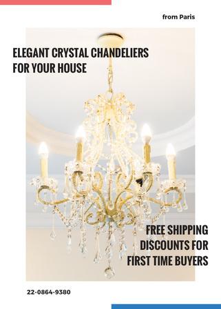 Template di design Elegant crystal Chandelier offer Invitation