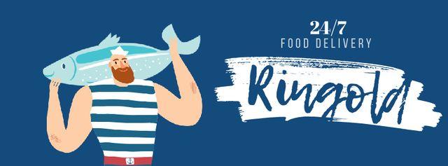 Plantilla de diseño de Food Delivery Fisherman with big fish Facebook Video cover