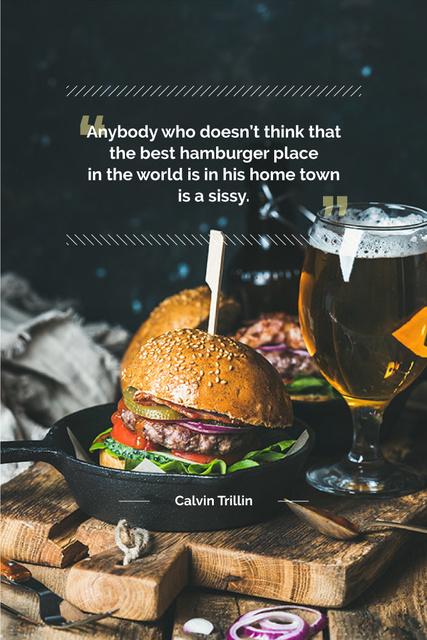 Ontwerpsjabloon van Pinterest van Delicious hamburger with quotation