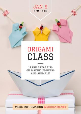 Origami Classes Invitation Paper Garland Invitation Modelo de Design