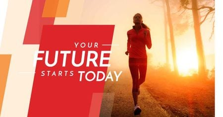 Inspirational quote with running young woman Facebook AD Design Template