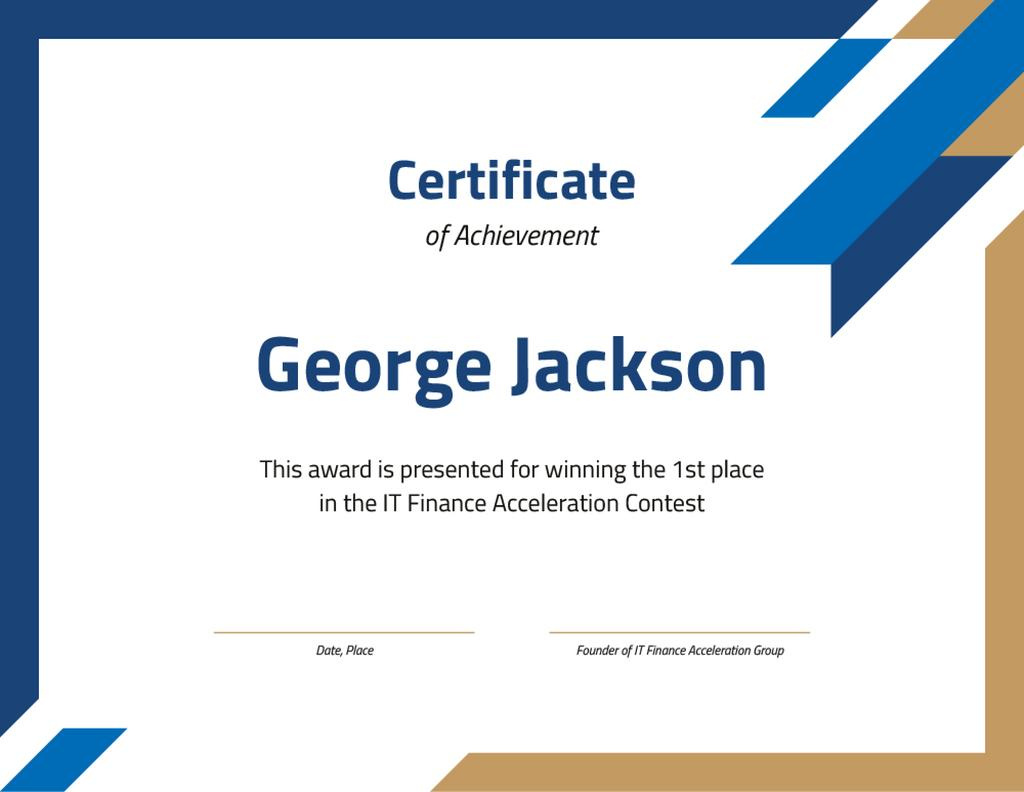 Winning IT Contest confirmation in blue and golden — Crea un design