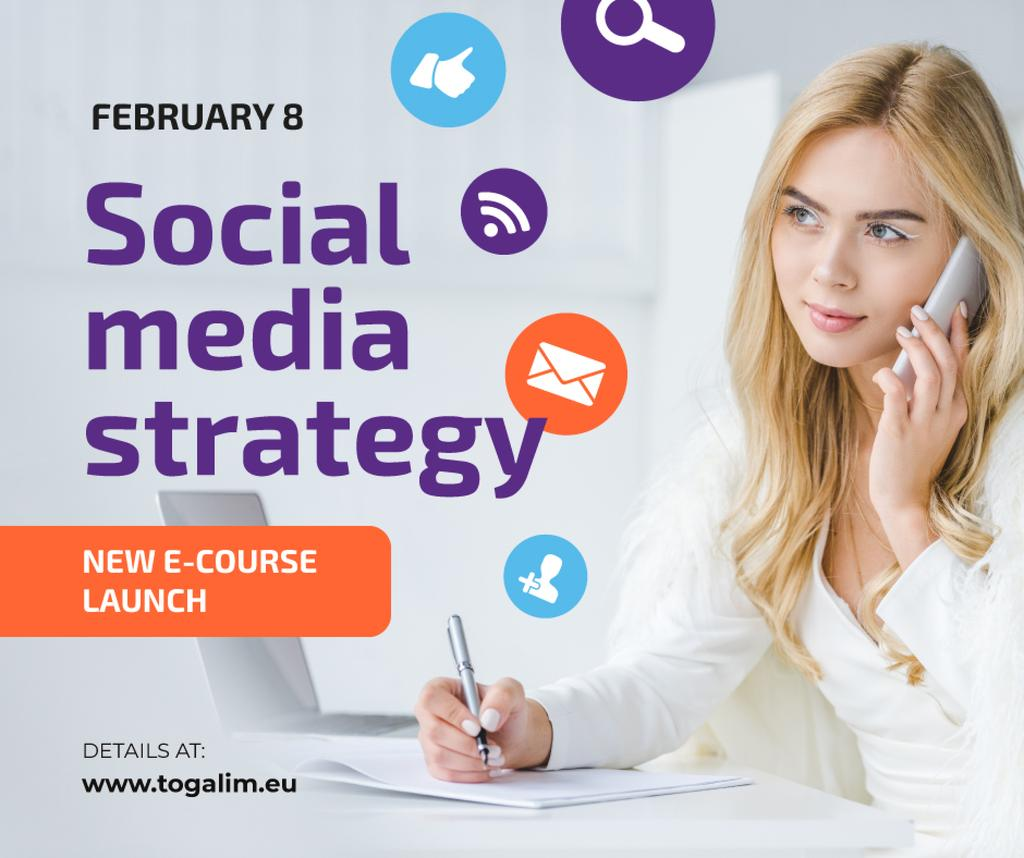 Social Media Course Promotion Woman with Notebook and Smartphone — Создать дизайн