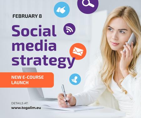 Social Media Course Woman with Notebook and Smartphone Facebook Tasarım Şablonu